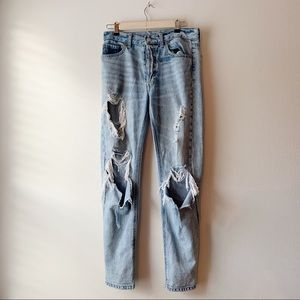 BDG Distressed Light Denim Mom Jeans